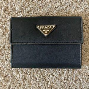 Prada saffiano black trifold wallet